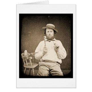 Carpintero con el Daguerreotype 1844 del martillo Tarjeta De Felicitación