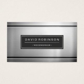 Carpintero - metal plateado superior tarjeta de visita