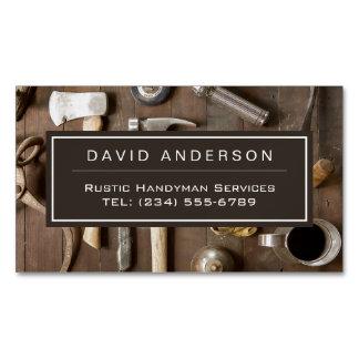 Carpintero rústico de la manitas del carpintero de tarjeta de visita magnética