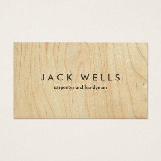 Carpintero y manitas de madera ligeros simples del tarjeta de visita