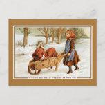 Carretilla antigua del chica de Santa del navidad