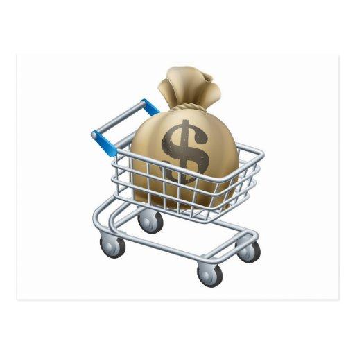 Carretilla del carro de la compra del dinero tarjetas postales