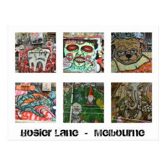 Carril urbano del Hosier de la postal del arte de