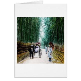 Carrito en el camino al vintage de Kyoto Japón Tarjeta De Felicitación
