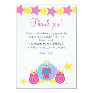 Carro amarillo de princesa Thank You Card Pink Invitación 12,7 X 17,8 Cm