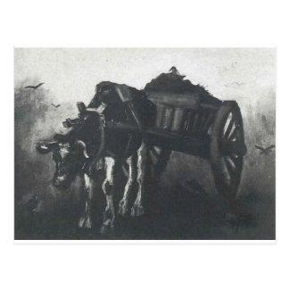 Carro con el buey negro de Vincent van Gogh Postal