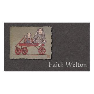 Carro, conejo y muñecas rojos tarjeta de visita