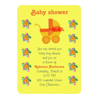 Carro de bebé anaranjado, rosa, flores cosidas invitación 12,7 x 17,8 cm