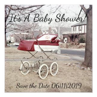 Carro de bebé, cochecito de niño exterior de la invitación 13,3 cm x 13,3cm