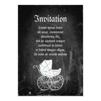 Carro de bebé gótico invitación 12,7 x 17,8 cm