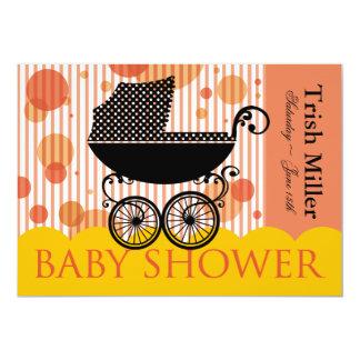 Carro de bebé retro elegante - fiesta de fiesta de invitación 12,7 x 17,8 cm