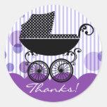 Carro de bebé retro elegante - pegatina de la