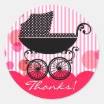 Carro de bebé retro elegante - pegatina de la fies
