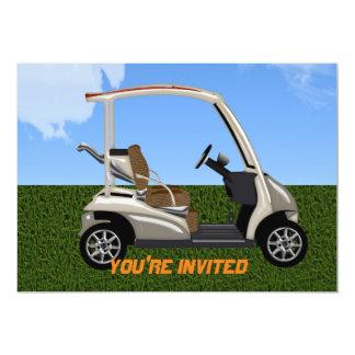 carro de golf 3D en hierba Invitación 12,7 X 17,8 Cm