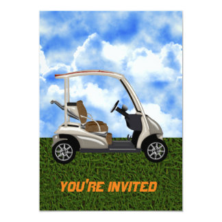carro de golf beige 3D en hierba Invitación 12,7 X 17,8 Cm