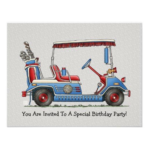 Carro de golf lindo invitaciones personalizada