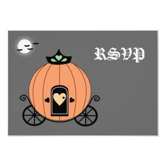Carro de la calabaza en la tarjeta de RSVP de la Anuncio
