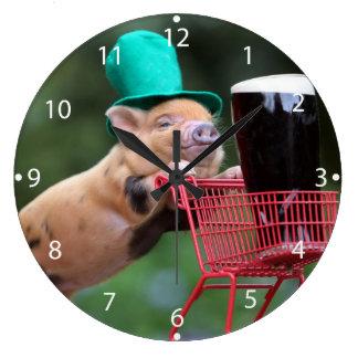 Carro de la compra del cerdo del perrito reloj redondo grande