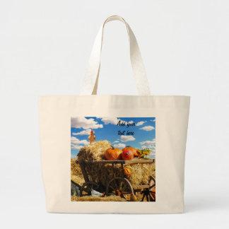 Carro de la cosecha de la acción de gracias bolsa de tela grande