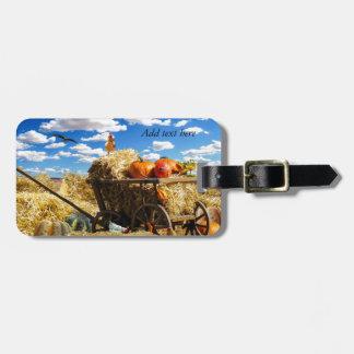 Carro de la cosecha de la acción de gracias etiquetas para maletas
