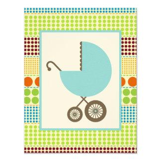 Carro de la fiesta de bienvenida al bebé del invitación 10,8 x 13,9 cm