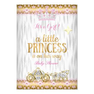 Carro del blanco del oro del rosa de la princesa invitación 12,7 x 17,8 cm