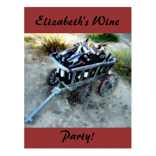 Carro del fiesta del vino de las botellas de vino tarjetas postales