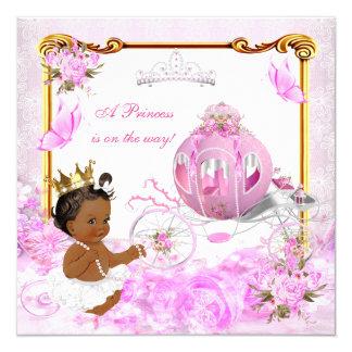 Carro del oro del rosa de la princesa fiesta de invitación 13,3 cm x 13,3cm