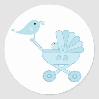 Carro del pájaro de bebé azul pegatina redonda