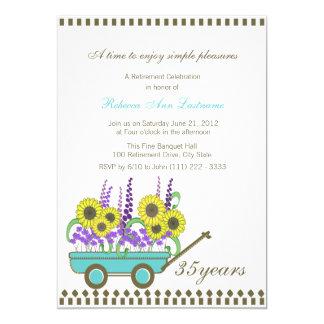 Carro del retiro por completo de flores invitación 12,7 x 17,8 cm