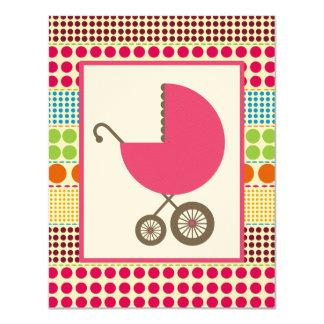 Carro del rosa de la fiesta de bienvenida al bebé invitación 10,8 x 13,9 cm