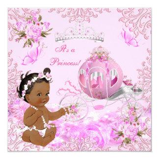 Carro del rosa de la fiesta de bienvenida al bebé invitación 13,3 cm x 13,3cm