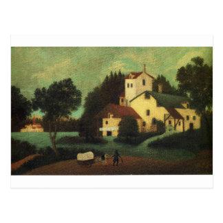 Carro delante del molino de Henri Rousseau Postal