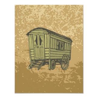 Carro gitano de la caravana invitación 10,8 x 13,9 cm