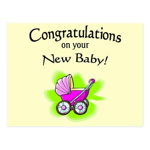 carro; nuevo bebé postal