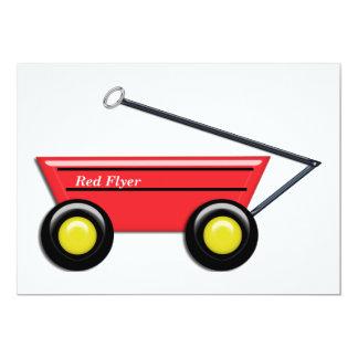 Carro rojo del juguete invitación 12,7 x 17,8 cm
