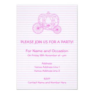Carro rosado del cuento de hadas invitación 12,7 x 17,8 cm