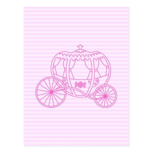 Carro rosado del cuento de hadas postales