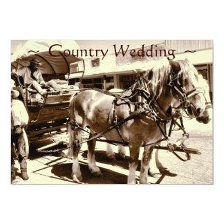 Carro rústico de los caballos de las invitaciones invitación 12,7 x 17,8 cm