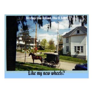 carro, saludos de Ashland, Ohio los E.E.U.U., Lik… Postal