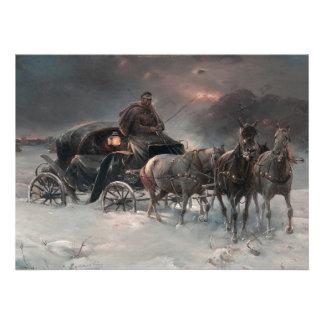 Carro traído por caballo en la noche comunicados personalizados