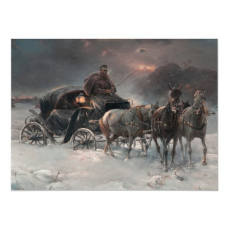 Carro traído por caballo en la noche invitación 13,9 x 19,0 cm