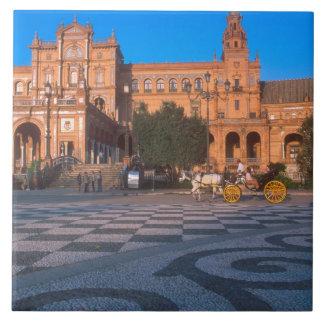 Carro traído por caballo en la plaza de Espana ade Azulejo Cuadrado Grande