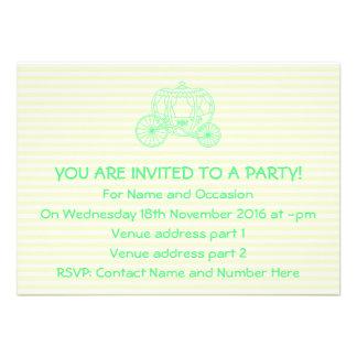 Carro verde del cuento de hadas invitaciones personalizada