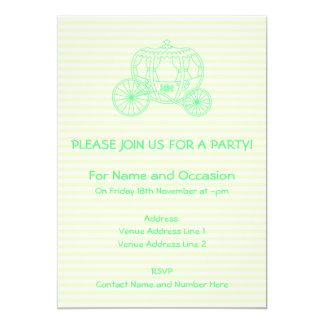 Carro verde del cuento de hadas invitación 12,7 x 17,8 cm