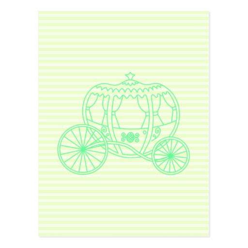 Carro verde del cuento de hadas tarjeta postal