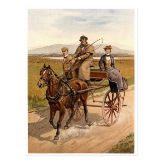 Carro y caballo irlandeses postal