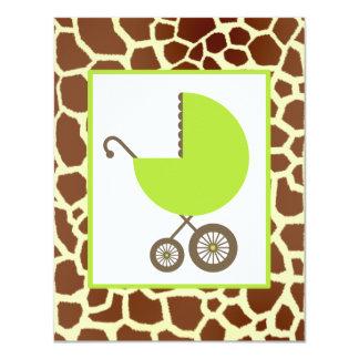 Carro y estampado de girafa neutrales del verde de invitación 10,8 x 13,9 cm