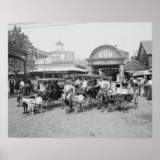 Carros de la cabra en Coney Island, 1910 Impresiones