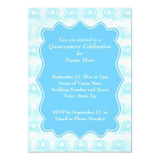 Carros en colores pastel azules Quinceanera Invitación 12,7 X 17,8 Cm